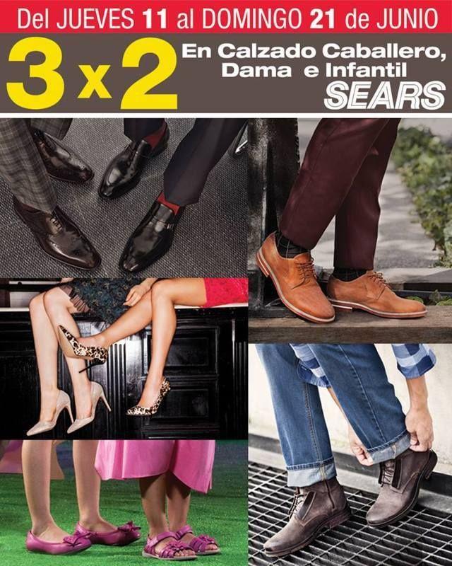 Sears calzado para dama, caballero niños y niñas al 3×2
