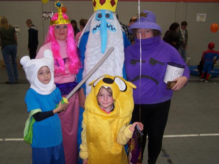 Adventure Time costumes. Finn, Jake, Ice King, Princess BubbleGum, and Lumpy Space Princess. group costume