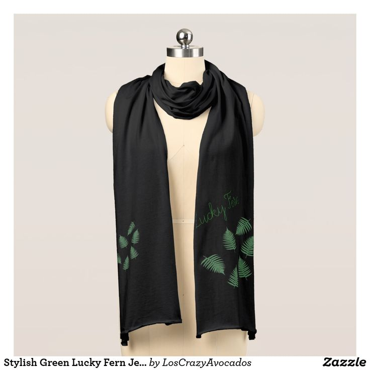 Stylish Green Lucky Fern Jersey Scarf