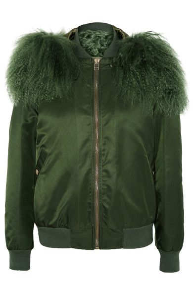 MR & MRS ITALY - Shearling-trimmed Shell Bomber Jacket - Forest green - x small