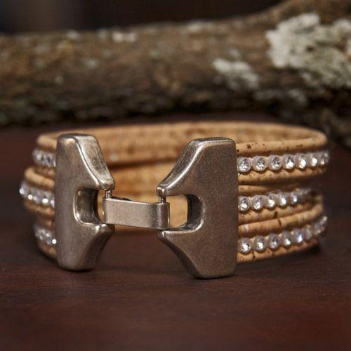 Cork Natural Tri bracelet little beads