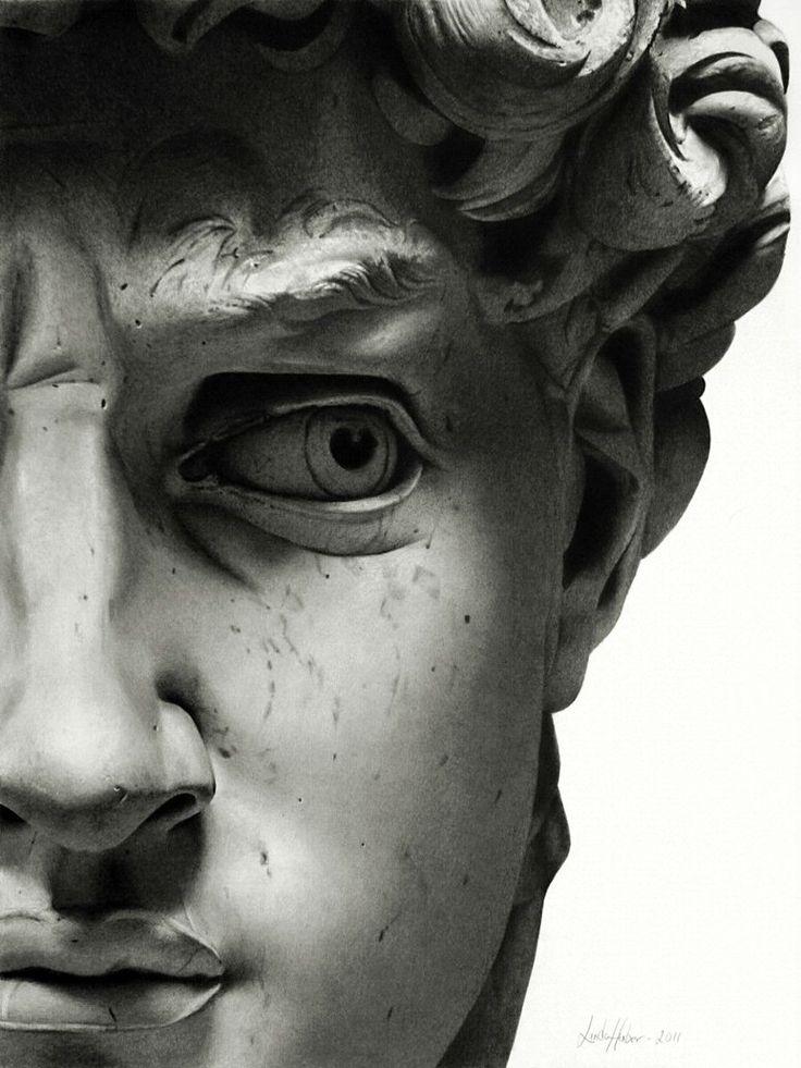 détail du visage du David de Michel Ange