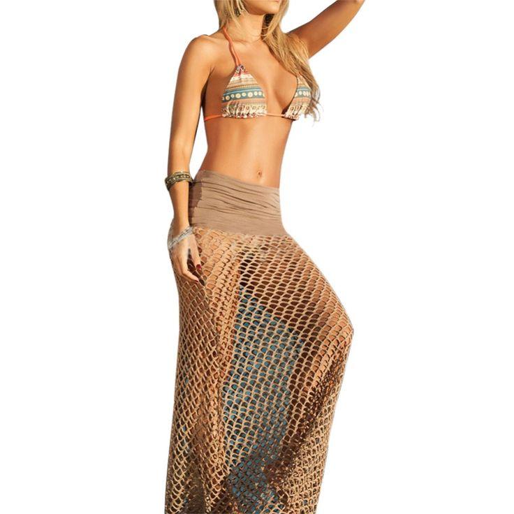 Aliexpress.com: Compre Mulheres sensuais Praia Malha Oco Out Crochet Longa Saia Swimwear Encobrir Vestido de confiança saia vestido fornecedores em Sunnyrain Store