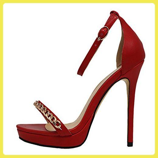 EKS Damen Elegante Sandaletten offene Zehe Metall Kette High Heels Sandalen Damenschuhe Matt-Rot 45 EU - Sandalen für frauen (*Partner-Link)