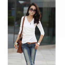 $7.09 Elegant V-Neck Fold Style Quarter Sleeves Cotton T-Shirt For Women