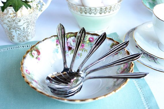 How can you resist dessert with these spoons! 'Vintage spoons and serving spoon: boxed English Sheffield cutlery for a special occasion, elegant chrome on nickel spoons on Etsy, £13.20'