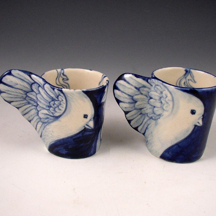 porcelain bird mugs