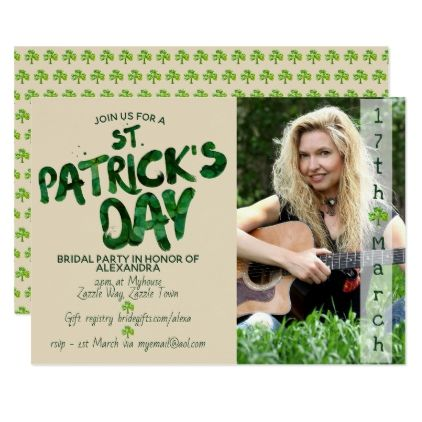 St Patrick's Day BRIDAL SHOWER - PHOTO Invitation - engagement gifts ideas diy special unique personalize