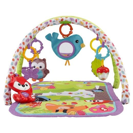 <p>Five linkable toys plus an adorable take-along musical fox with fun sounds and two music modes keep baby busy on a comfy, padded, portable activity play mat with two soft play gym arches overhead. Music plays for up to 10 minutes in long play music mode, and you can rearrange the linkable activity toys to change the experience for baby, every time she plays! Requires 2 AA batteries. For ages birth and up.</p><p> <&...