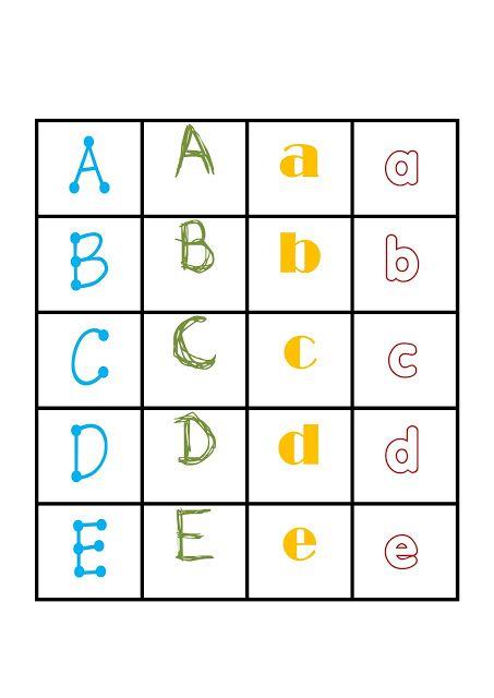 I,Teacher: Printable Alphabet Games: Memory Letter Tiles
