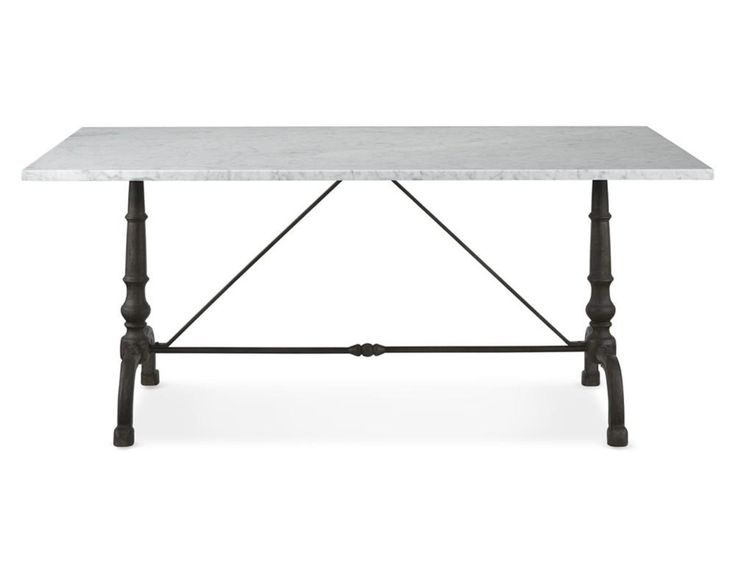 La Coupole Rectangular Iron Bistro Table with Marble Top