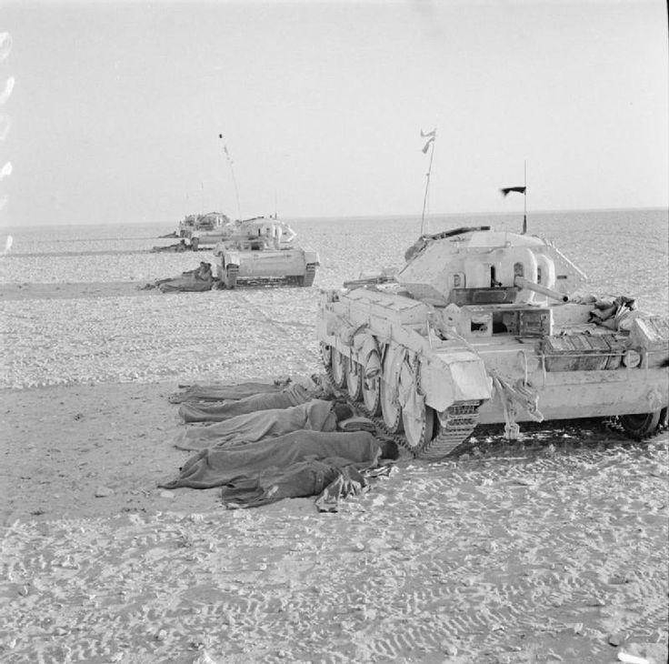 The crews of Crusader tanks bed down for the night beside their vehicles in the Western Desert, 28 August 1942.