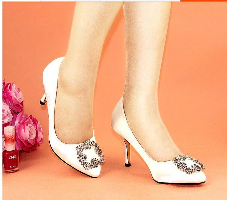 Whole Bridal Shoes 2017 Hot Satin Rhinestone Square Buckle Heels Pointed European And
