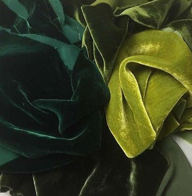 This is our luscious silk/rayon velvet fabric.This greenssample set includes one 6 inch by 45 inch piece of each color: olive, green gold, yellow green, and d
