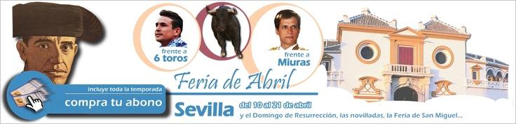 Abonos para la feria de Abril de Sevilla...¡Toda la temporada, con un 70% de descuento en gastos de gestión!http://www.toroticket.com/39-entradas-toros-sevilla