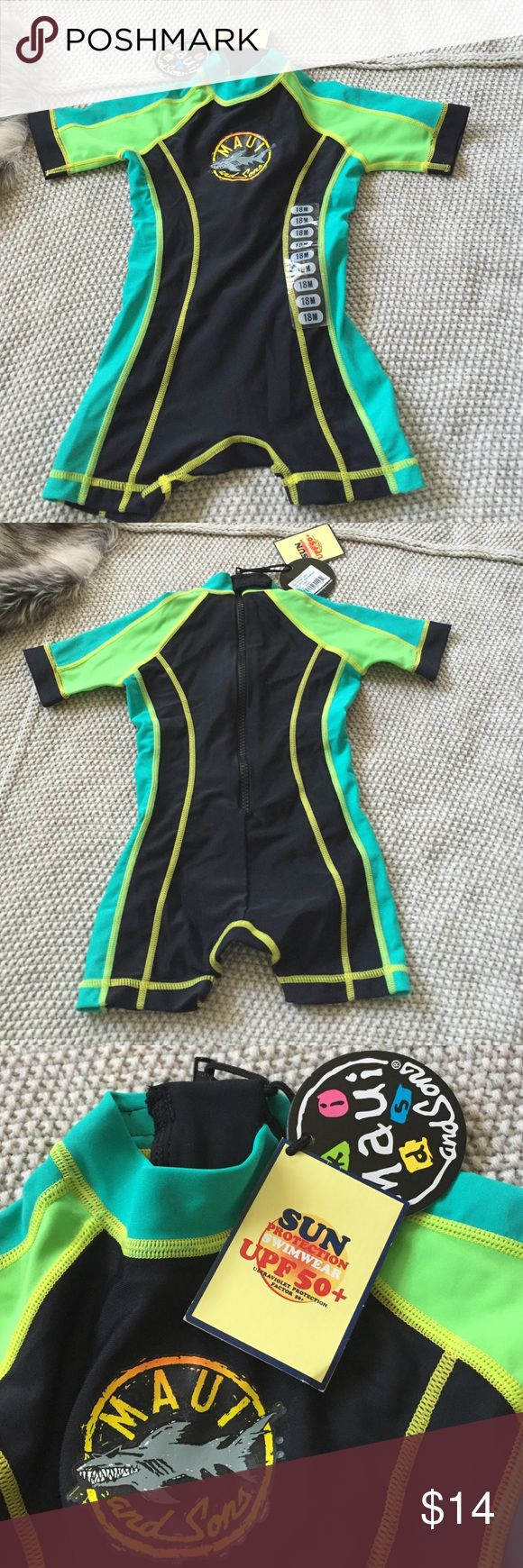New NWT Maui and Sons rashsuit swimsuit 18 mo New with tags attached rashsuit/swimsuit in size 18 months. Sun protection swimwear UPF 50+. Ultraviolet protection factor 50+. Excellent condition Maui and Sons Swim One Piece