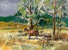 Eucalyptus, West Marin Horses, 1965, California art by Ken Potter. HD giclee art prints for sale at CaliforniaWatercolor.com - original California paintings, & premium giclee prints for sale