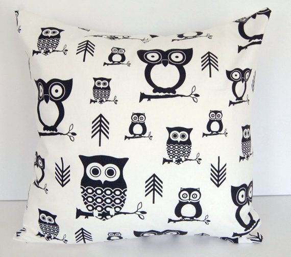 Decorative pillow cover 18 x 18 owl pillow by ThePillowPeople, $17.00--mud room