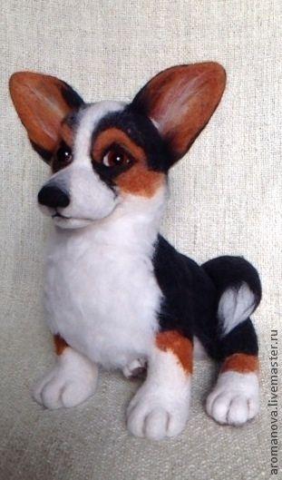 Купить Вельш-корги Трой (Нашел дом) - чёрный, щенок, собака, Валяние, войлочная игрушка