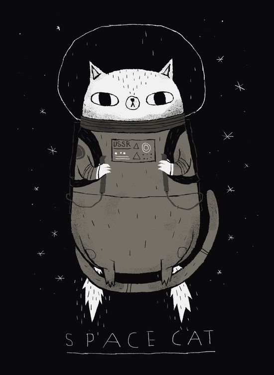 space cat Art Print by Louis Roskosch