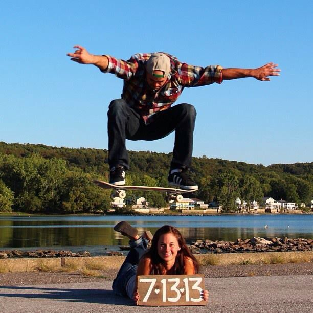 Our engagement photo. #engagementphoto #savethedate #skateboarding #ollie #vermont #newengland #wedding #skateboard