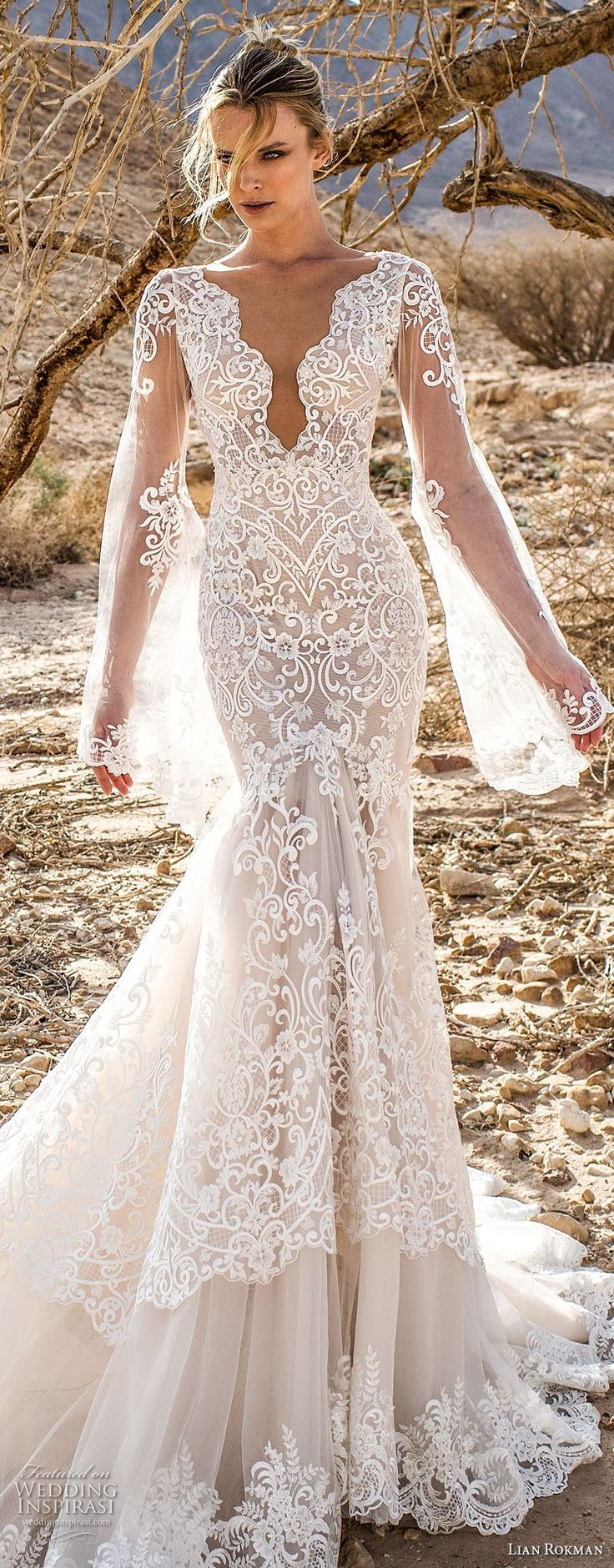lian rokman 2017 bridal long bell sleeves deep plunging v neck full embellishment elegant sexy mermaid wedding dress open v back chapel train (moonlight) mv -- Lian Rokman 2017 Wedding Dresses #laceweddingdresses