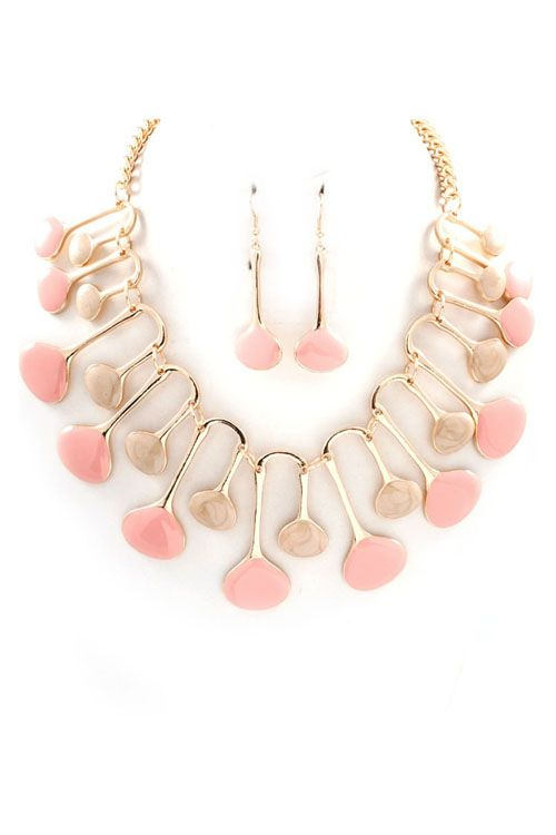 pink and taupe modern necklace set