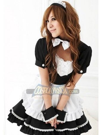 Very lovely and pretty maid costume for girls, puff sleeves and ruffle design. The gloves are not included in the suit.