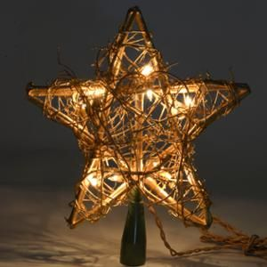 Kurt Adler 10 Light Rattan Gold Star Tree Topper