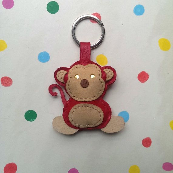 Monkey Keychain in Red Leather for Year of the Monkey
