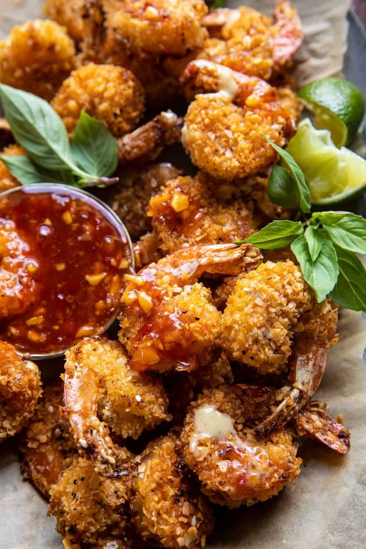 Oven Fried Coconut Shrimp with Thai Pineapple Chili Sauce