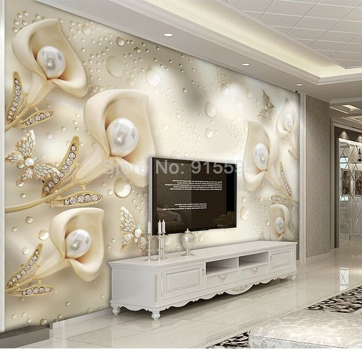 Large 3d European Pearl And Rose Jewelry Tv Background: 3D Sitting Room Bedroom TV Background Calla Lily Pearl