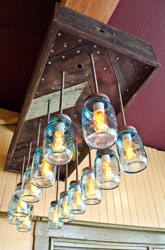 Oregon Public House signature Chevron chandelier - made with reclaimed wood - mason jars - edison bulbs - rustic modern handmade lighting on Etsy, $1,400.00