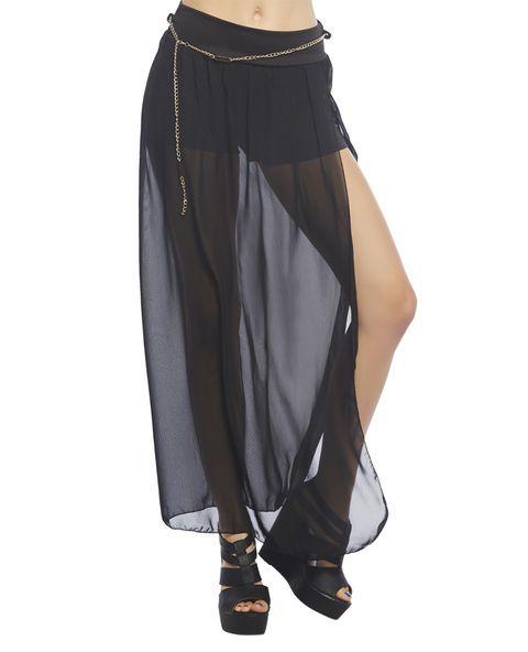 grunge chic maxi skirt featuring a semi sheer chiffon