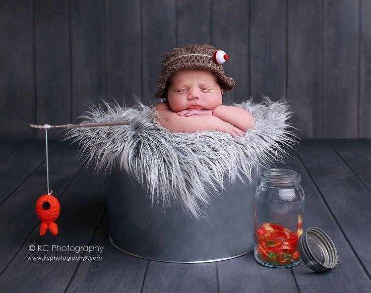 baby boy hat-Fisherman set-newborn photography photo prop-crochet hat and fish. $40.00, via Etsy.