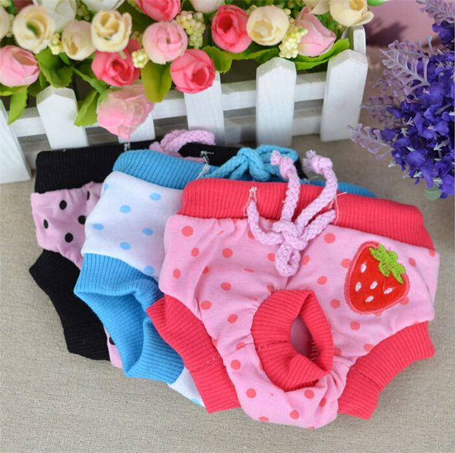 New Cute Pet Dog Clothes Cotton Elastic Physiological Sanitary Pants Shorts K015