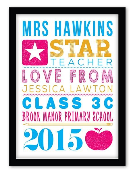 Any star teacher would be delighted with an end of term gift of a personalised print, poster or canvas from their pupils & students. A perfect way for your child or class to say thank you for all their hard work. All you need to do is to type your words, pick your colour option and your personalised print will preview instantly.