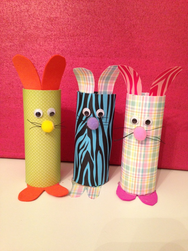 Toilet paper roll bunnies my craft projects pinterest for Toilet paper art ideas