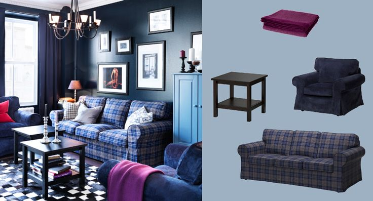 EKTORP three-seat sofa with Rutna multicoloured cover and EKTORP armchairs with Vellinge dark blue cover