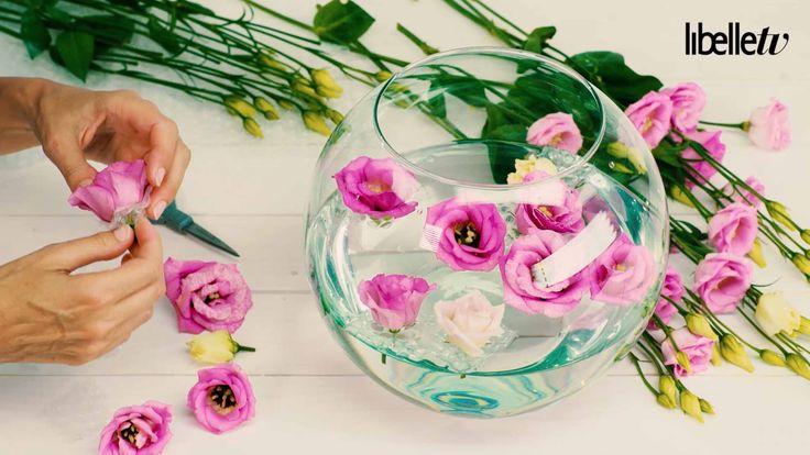 Drijvende bloemen, mooi rechtop in een schaal