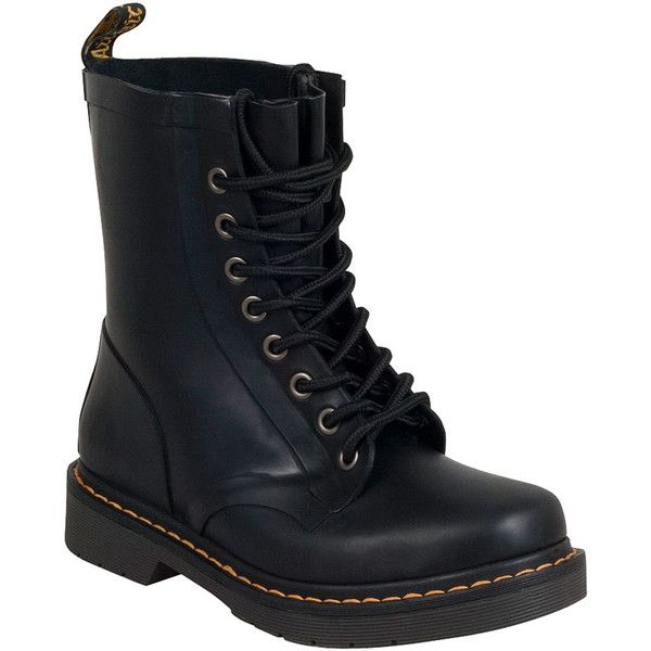 Dr. Martens Drench Waterproof Women's Combat Boot F Boot ($100) ❤ liked on Polyvore featuring shoes, boots, black, black military boots, combat boots, black army boots, military boots and army boots
