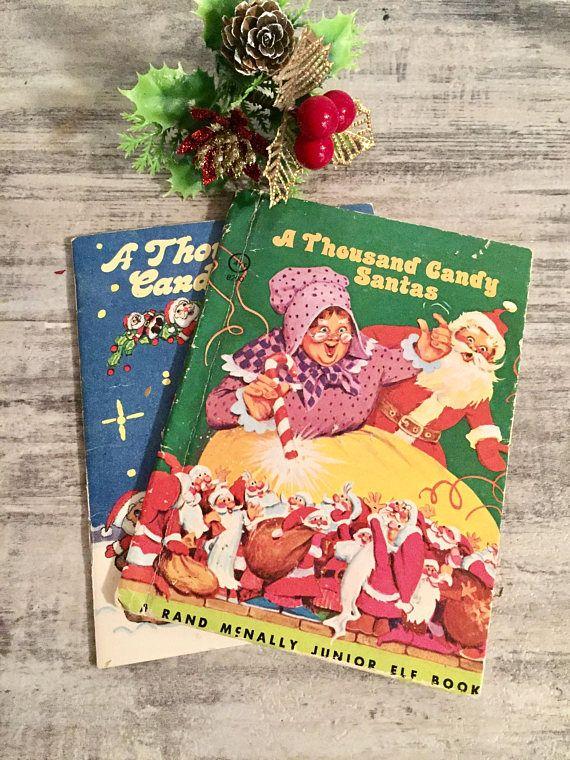 Christmas Book Lot A Thousand Candy Santas 1977 Vintage #etsy #AThousandCandySantas #Santa #ChristmasBook #VintageBook #vintageChildrensBooks #Booklot #HolidayDecor #Christmas #XMas #VintageChristmas #MrsClaus