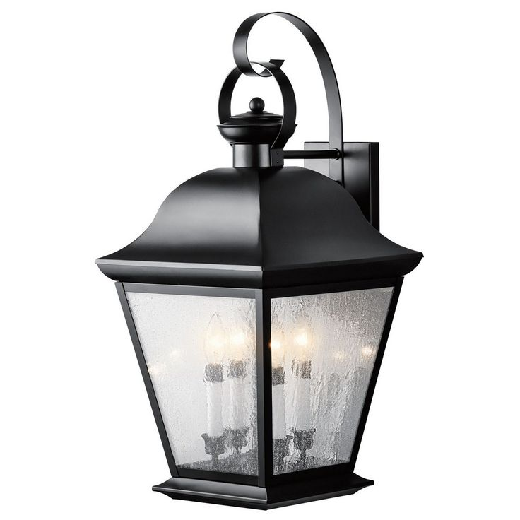 mount vernon outdoor wall lantern black finish with clear seedy glass kichler lighting