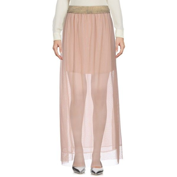 Kaos Long Skirt ($57) ❤ liked on Polyvore featuring skirts, skin colour, kaos, pink maxi skirt, long pink skirt, elastic waistband skirt and ankle length skirts