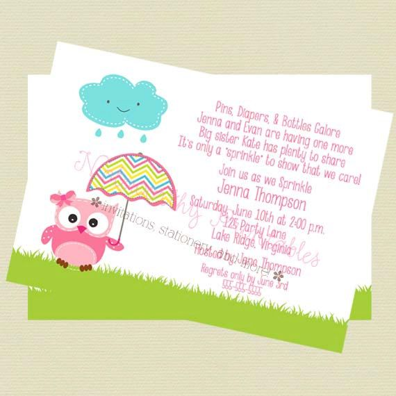 Having A Sprinkle Baby Shower Part - 43: Baby Sprinkle Invitation, Baby Shower Invitation, Owl Theme Baby  Invitation/Pink Owl Sprinkle Invitation, Pink Owl Baby Shower, Printable