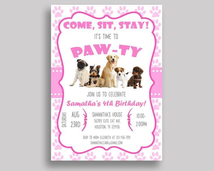 Puppy Birthday Invitation Puppy Birthday Party Invitation Puppy Birthday Party Puppy Invitation Girl dogs invite, pink invite V6H05 #birthdayInvites #birthdayPartyInvites #birthday