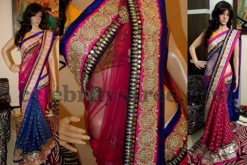 Georgette Benaras Half and Half Sari