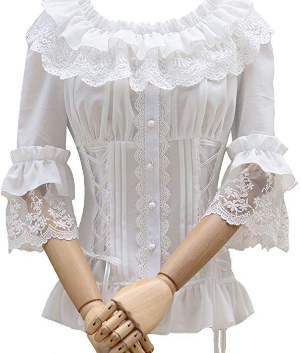 7da2c82460e794 Amazon.com: Smiling Angel Ruffle Retro Chiffon Half Sleeve Victorian Lolita  White Blouse: Clothing