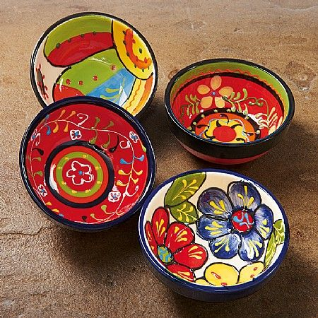 Set of 4 Bocas Mini- £22.99 Known as 'bocas' in Central America tapas-style cuisine is designed to get conversation going. 4 hand-painted bowls, ideal for guacamole and salsa but also chipotle-shrimps, tostadas, taquitos and other Mexican appetisers