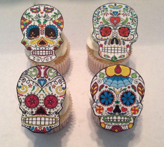 Edible Sugar Skull Cupcake Toppers by TopCupcake on Etsy